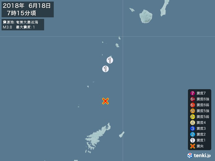 地震情報(2018年06月18日07時15分発生)