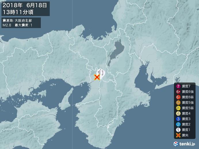 地震情報(2018年06月18日13時11分発生)