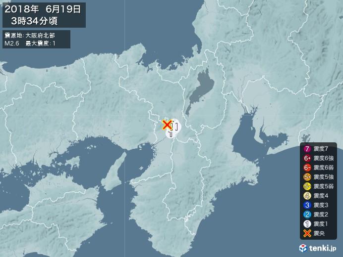 地震情報(2018年06月19日03時34分発生)