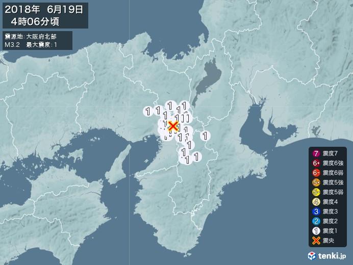 地震情報(2018年06月19日04時06分発生)