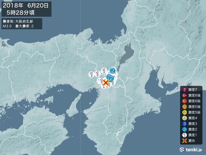 地震情報(2018年06月20日05時28分発生)
