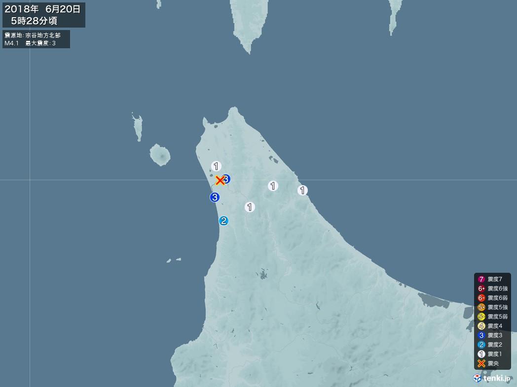 地震情報 2018年06月20日 05時28分頃発生 最大震度:3 震源地:宗谷地方北部(拡大画像)