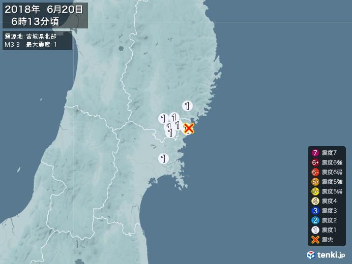 地震情報(2018年06月20日06時13分発生)