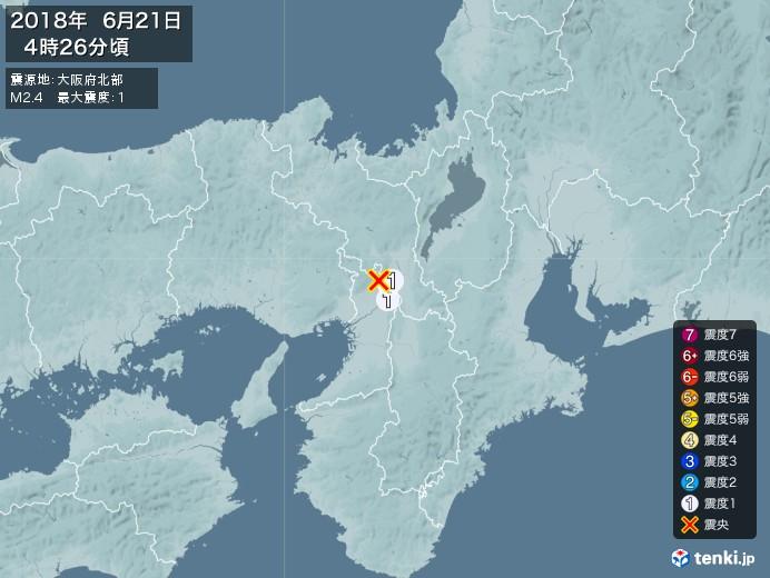 地震情報(2018年06月21日04時26分発生)