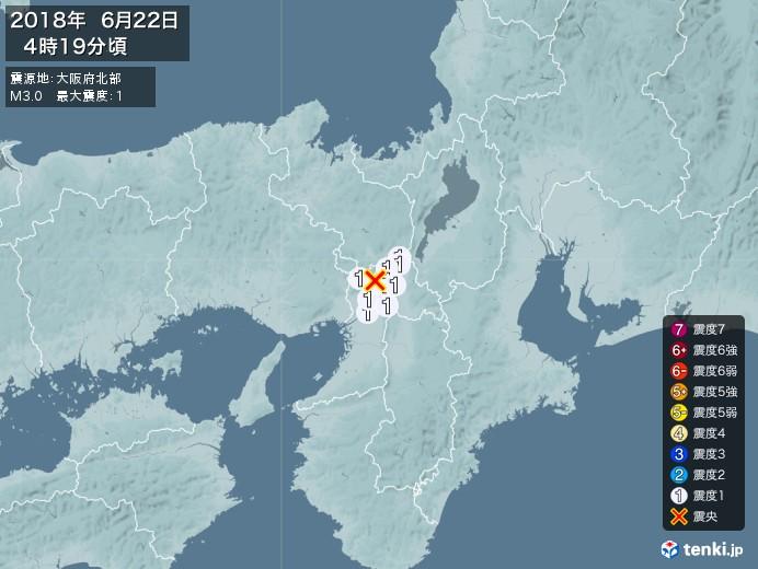 地震情報(2018年06月22日04時19分発生)