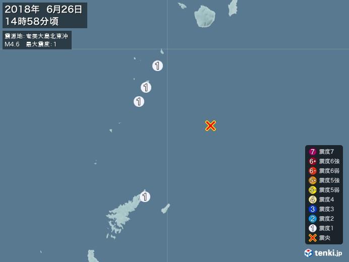 地震情報(2018年06月26日14時58分発生)
