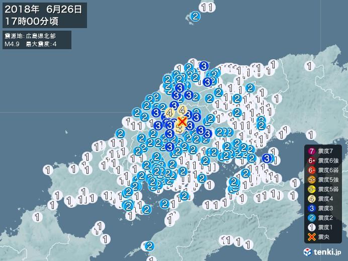 地震情報(2018年06月26日17時00分発生)