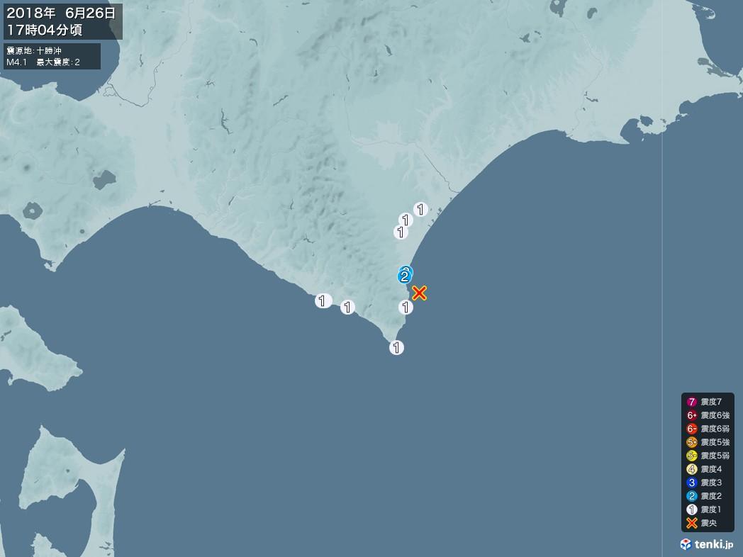 地震情報 2018年06月26日 17時04分頃発生 最大震度:2 震源地:十勝沖(拡大画像)