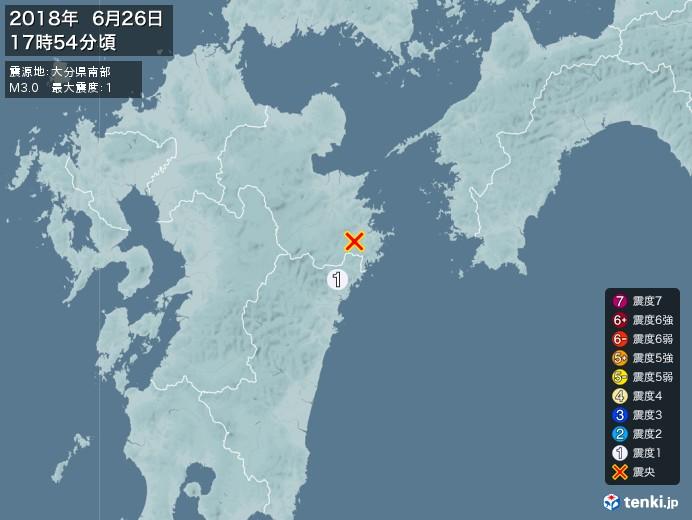 地震情報(2018年06月26日17時54分発生)