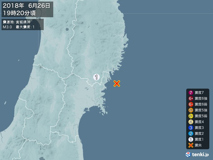 地震情報(2018年06月26日19時20分発生)