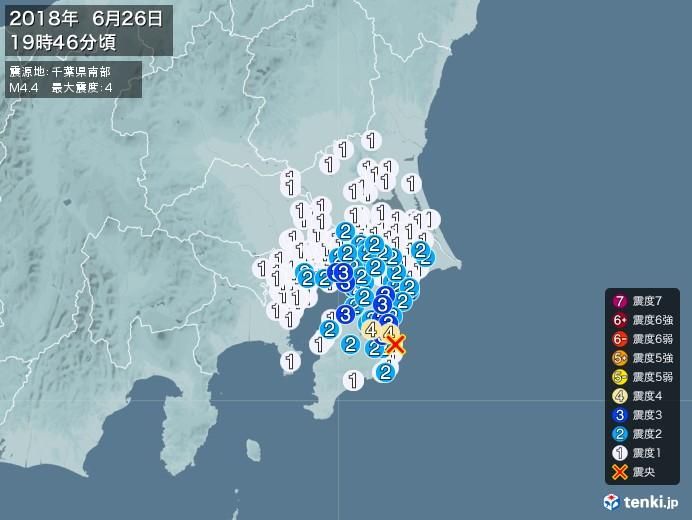 地震情報(2018年06月26日19時46分発生)