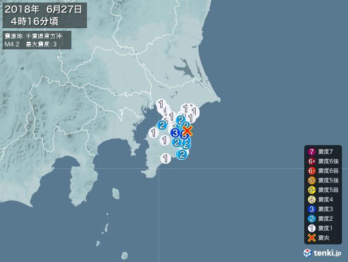 地震情報(2018年06月27日04時16分発生)