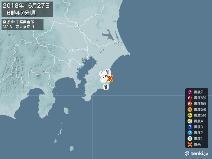 地震情報(2018年06月27日06時47分発生)
