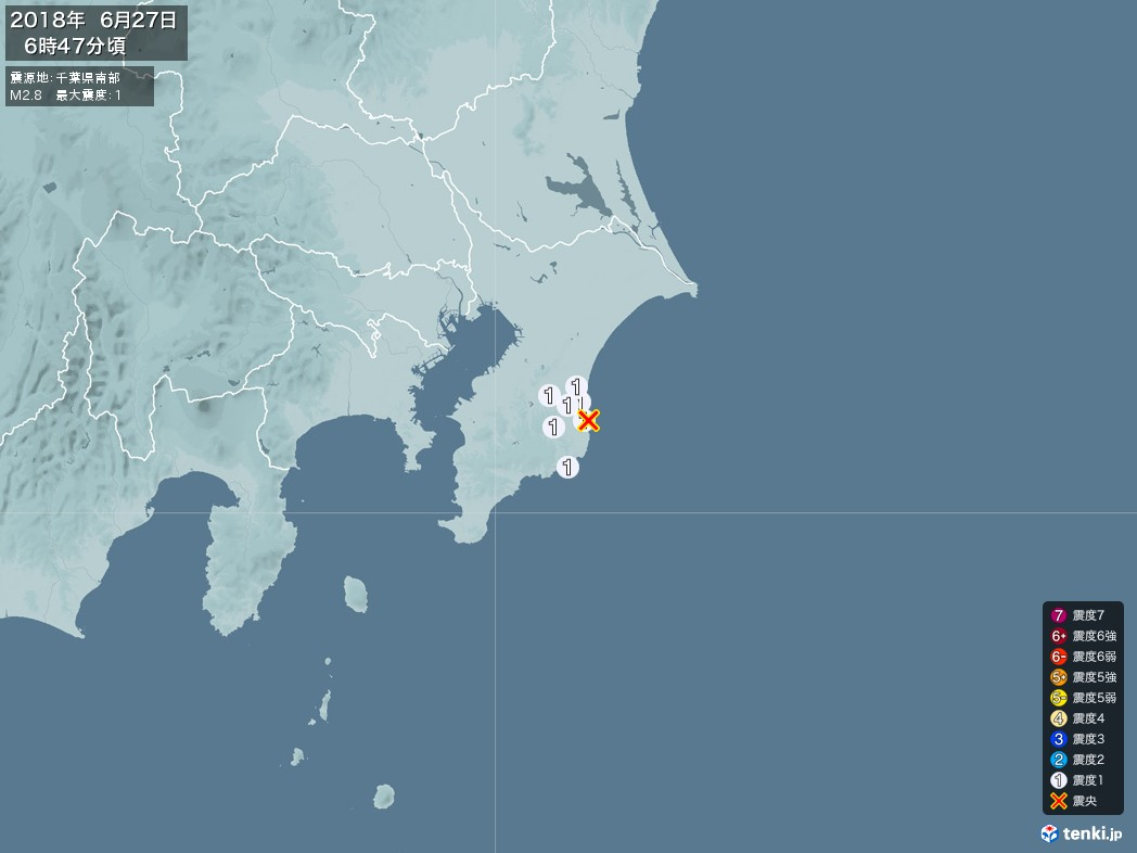 地震情報 2018年06月27日 06時47分頃発生 最大震度:1 震源地:千葉県南部(拡大画像)