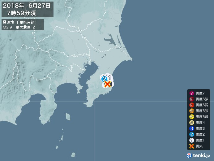 地震情報(2018年06月27日07時59分発生)