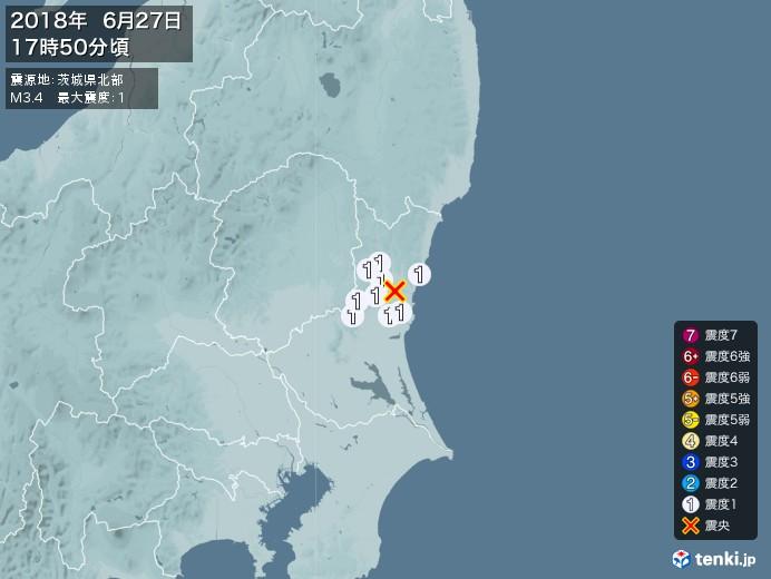 地震情報(2018年06月27日17時50分発生)