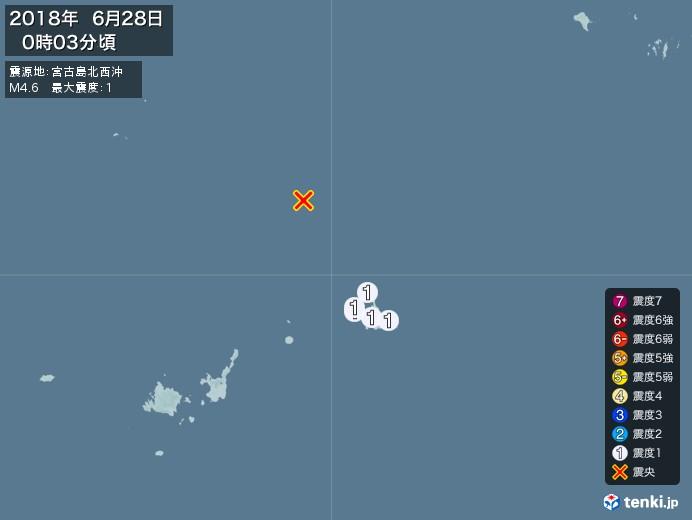 地震情報(2018年06月28日00時03分発生)