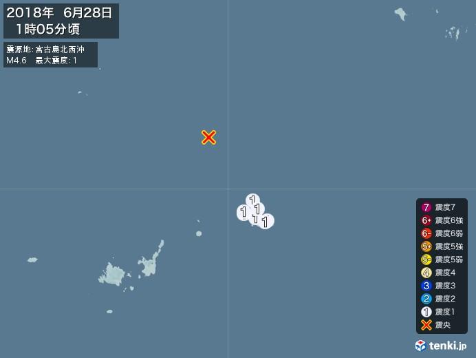 地震情報(2018年06月28日01時05分発生)