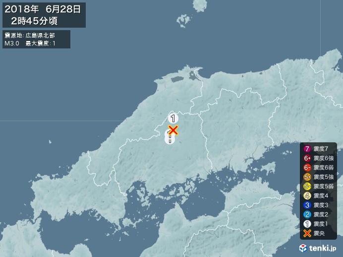 地震情報(2018年06月28日02時45分発生)
