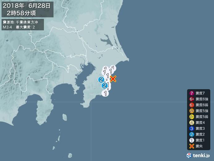 地震情報(2018年06月28日02時58分発生)