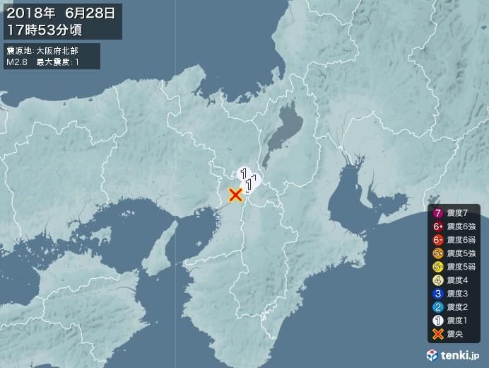 地震情報(2018年06月28日17時53分発生)