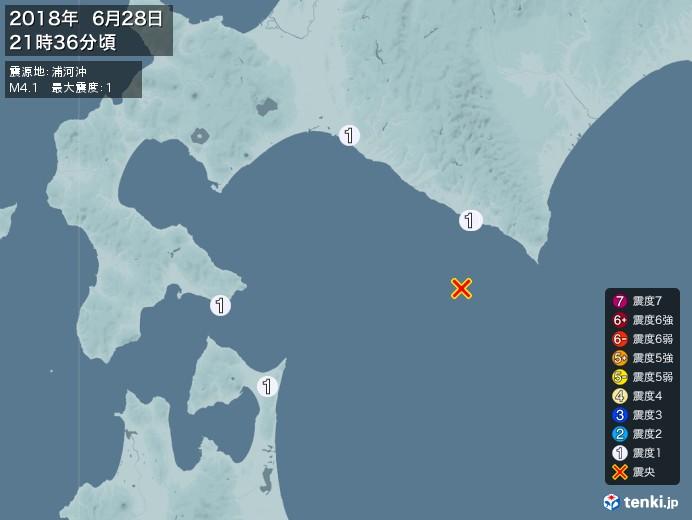 地震情報(2018年06月28日21時36分発生)