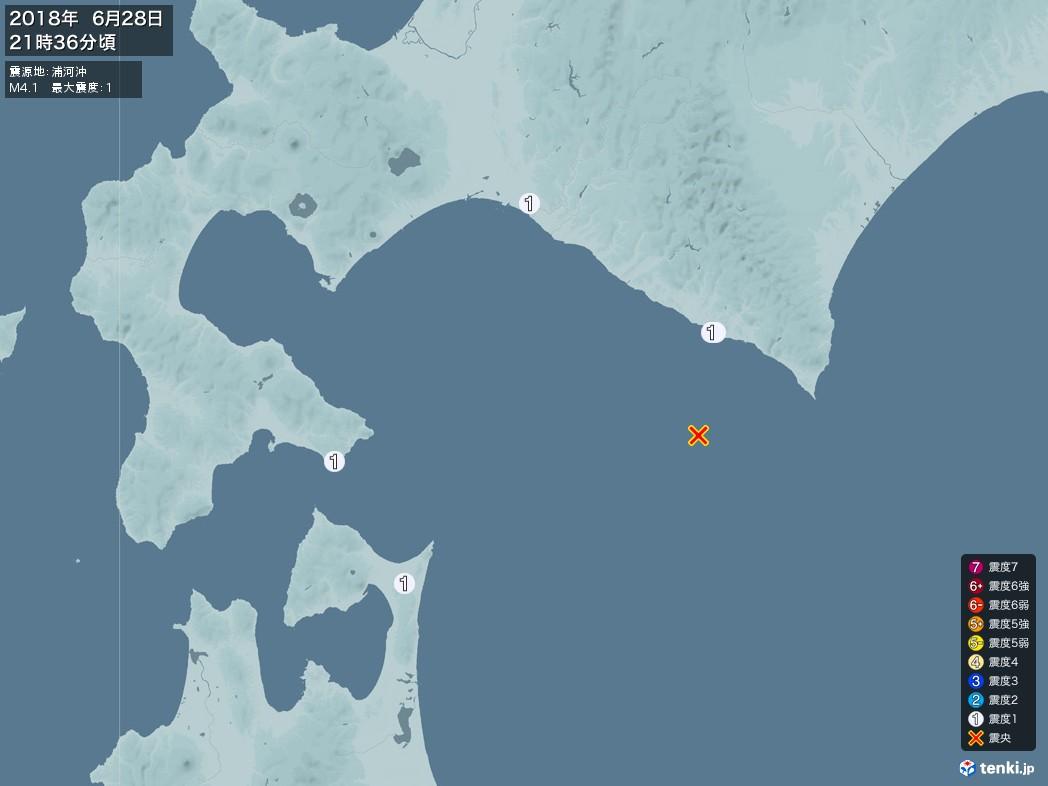 地震情報 2018年06月28日 21時36分頃発生 最大震度:1 震源地:浦河沖(拡大画像)