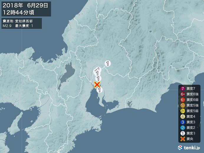 地震情報(2018年06月29日12時44分発生)