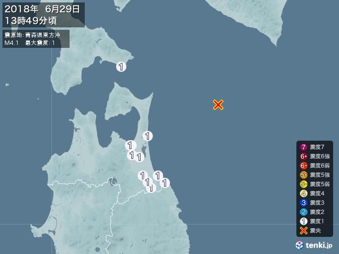 地震情報(2018年06月29日13時49分発生)
