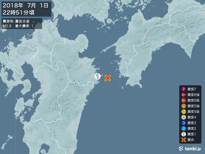 地震情報(2018年07月01日22時51分発生)