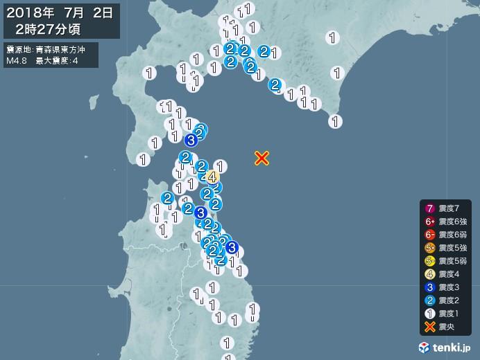 地震情報(2018年07月02日02時27分発生)