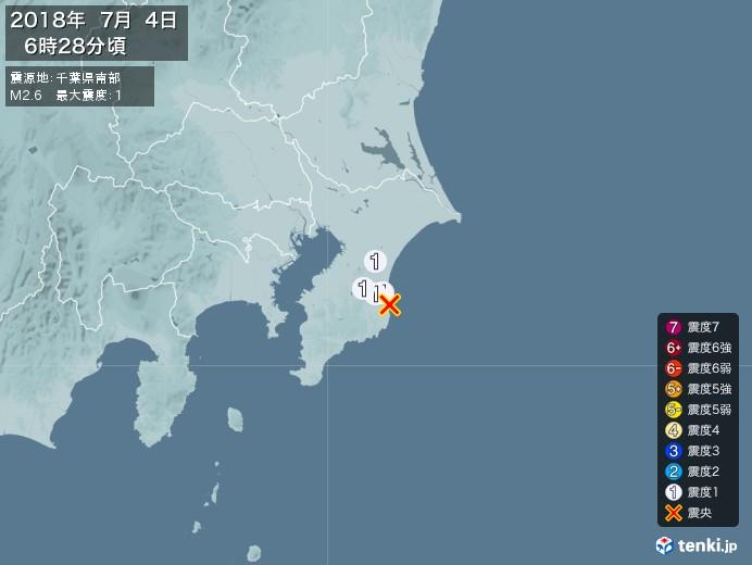 地震情報(2018年07月04日06時28分発生)