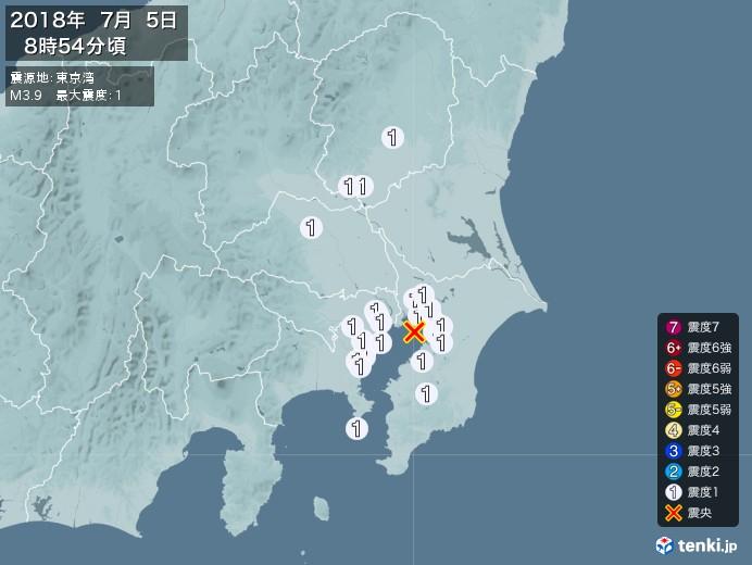 地震情報(2018年07月05日08時54分発生)