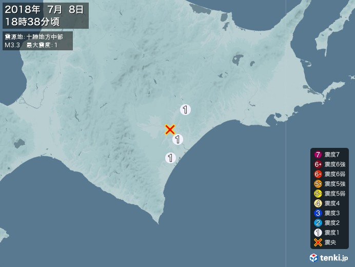 地震情報(2018年07月08日18時38分発生)