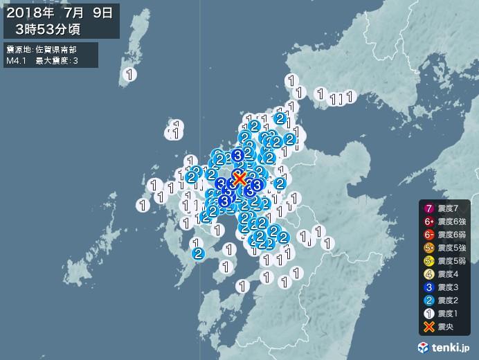 地震情報(2018年07月09日03時53分発生)