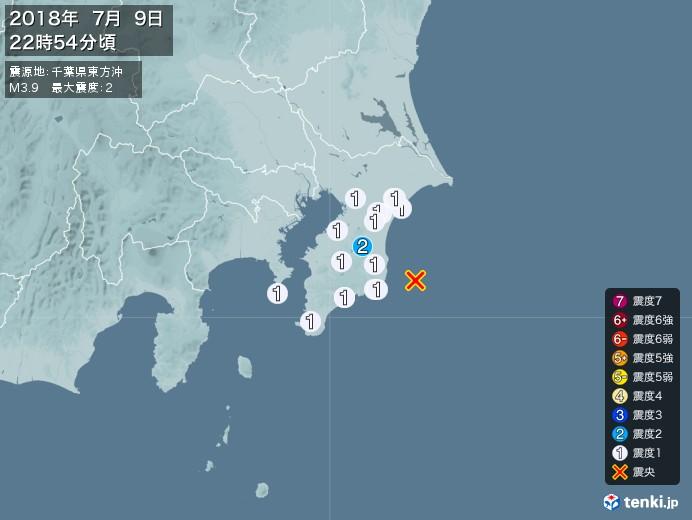 地震情報(2018年07月09日22時54分発生)