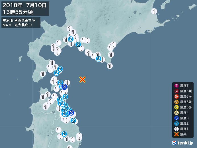 地震情報(2018年07月10日13時55分発生)