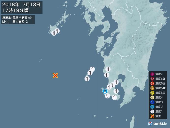 地震情報(2018年07月13日17時19分発生)
