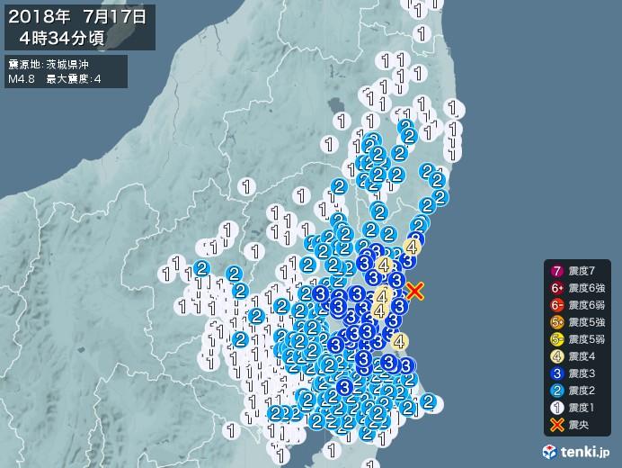 地震情報(2018年07月17日04時34分発生)