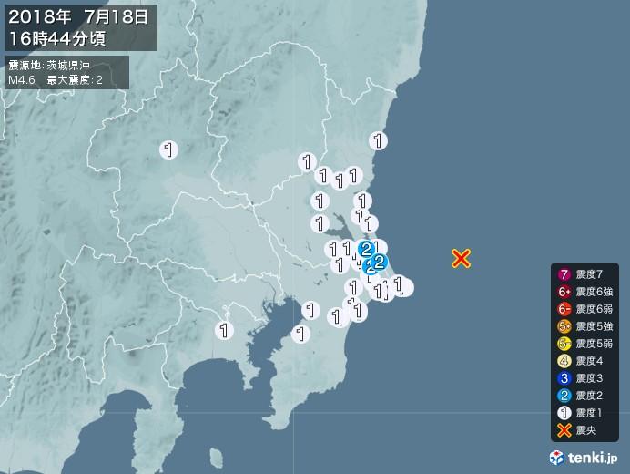 地震情報(2018年07月18日16時44分発生)