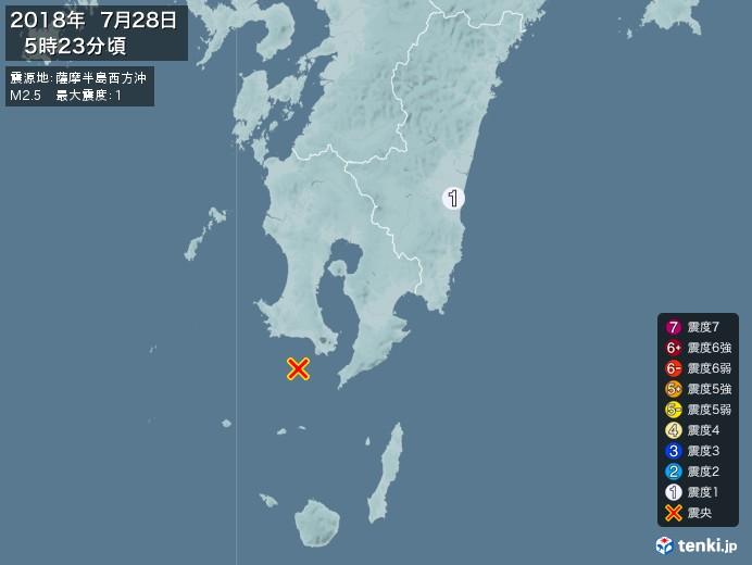 地震情報(2018年07月28日05時23分発生)