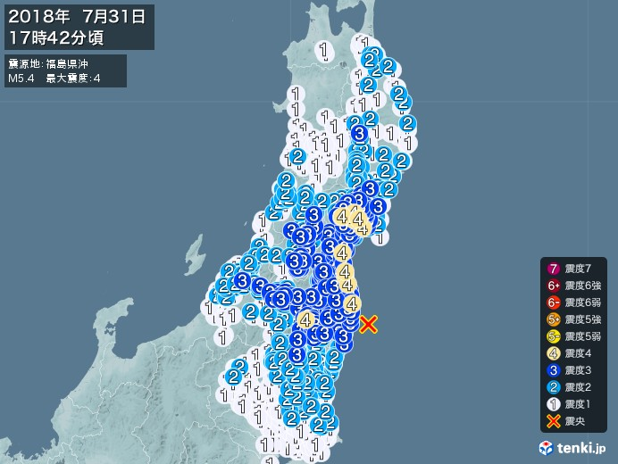 地震情報(2018年07月31日17時42分発生)
