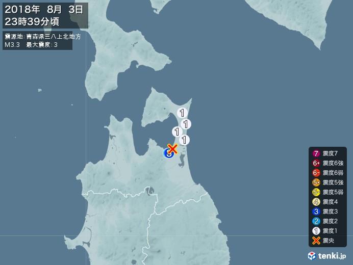 地震情報(2018年08月03日23時39分発生)
