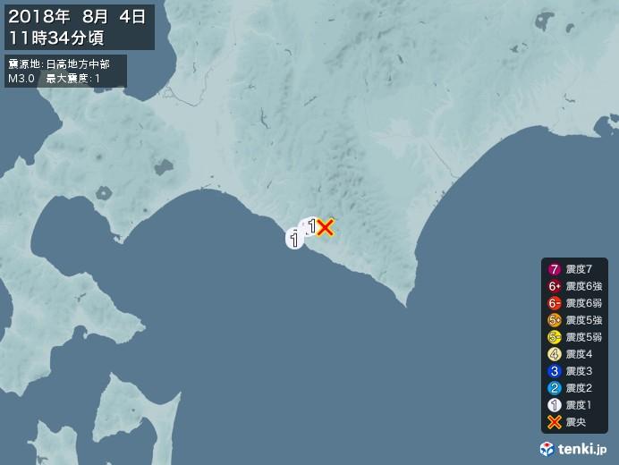 地震情報(2018年08月04日11時34分発生)