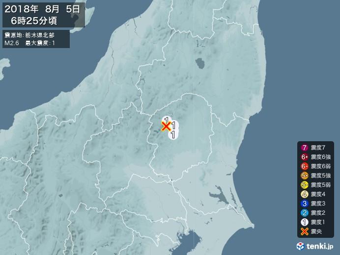 地震情報(2018年08月05日06時25分発生)