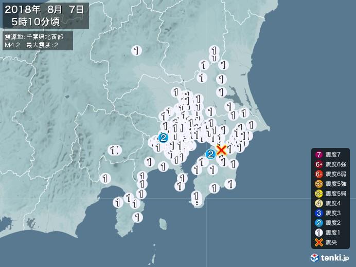 地震情報(2018年08月07日05時10分発生)