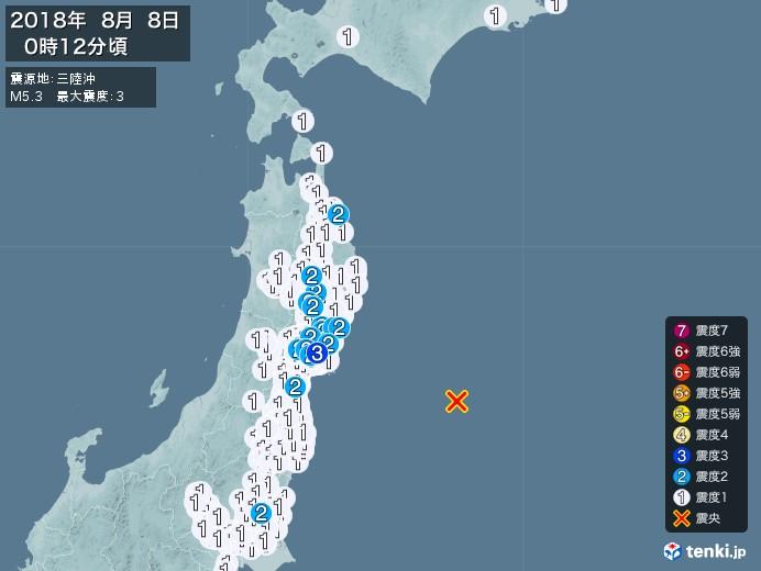地震情報(2018年08月08日00時12分発生)