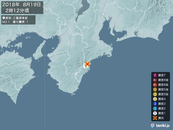 地震情報(2018年08月19日02時12分発生)