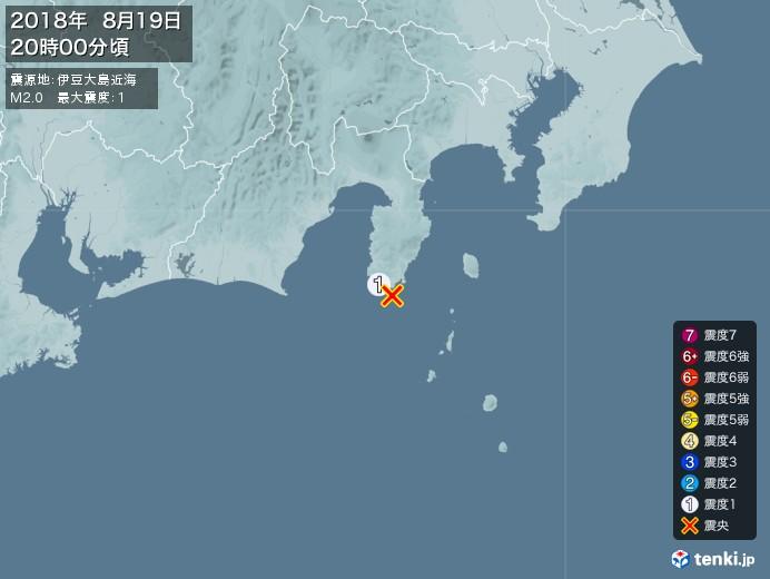 地震情報(2018年08月19日20時00分発生)
