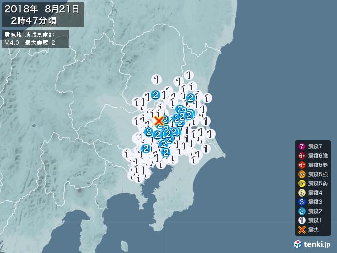 地震情報(2018年08月21日02時47分発生)